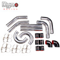 "3""76mm TURBO INTERCOOLER PIPE  L=500MM CHROME ALUMINUM PIPING PIPE TUBE+T-CLAMPS+ SILICONE HOSES black"