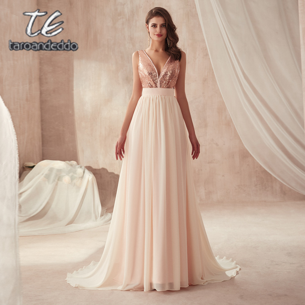 V neck Champagne Sequin and Chiffon Bridesmaid Dress with Huge Bow Back Open Back Wedding Party Dresses