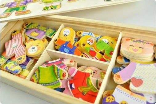 2013 Free shipping,Puzzle Game,Funny Toy Colorful Educational Wooden Toy Bears Changing Cloths ,Children' Gift