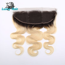 Luasy Brazilian Body Wave Human Hair Dark Roots 1B 613 Blonde Lace Frontal Closure 13x4 Ear To Ear Swiss Lace Remy Hair Closure(China)