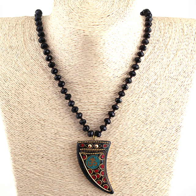 Black Long Crystal Glass Knotted OM Necklaces
