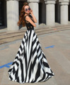New sexy dress women summer long maxi evening party dress praia lace up chiffon striped dress vestidos largos de verano #48