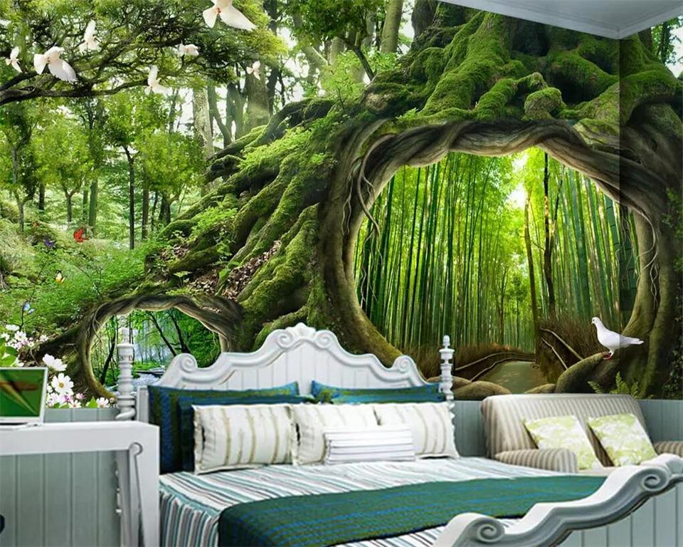 Beibehang Wallpaper Mural Magic Forest Tree Cafe Children S Room