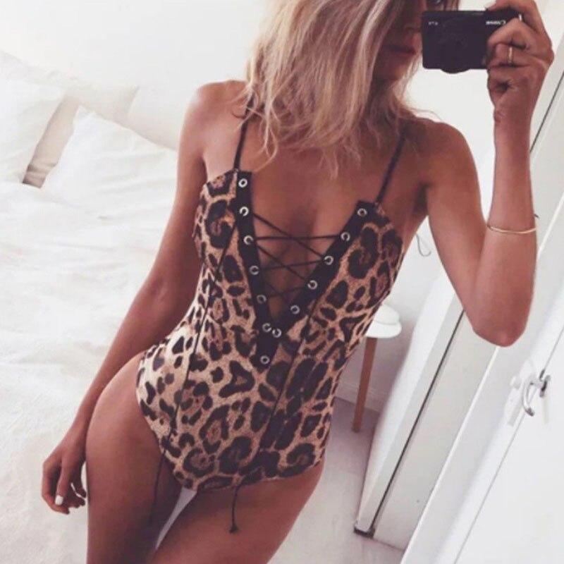 2019 Sexy Leopard Print Swimwear Women Slim V Neck Bodysuit Tops Lace Up Bandage Bodysuit One-Piece Swimsuits For Women Jumpsuit