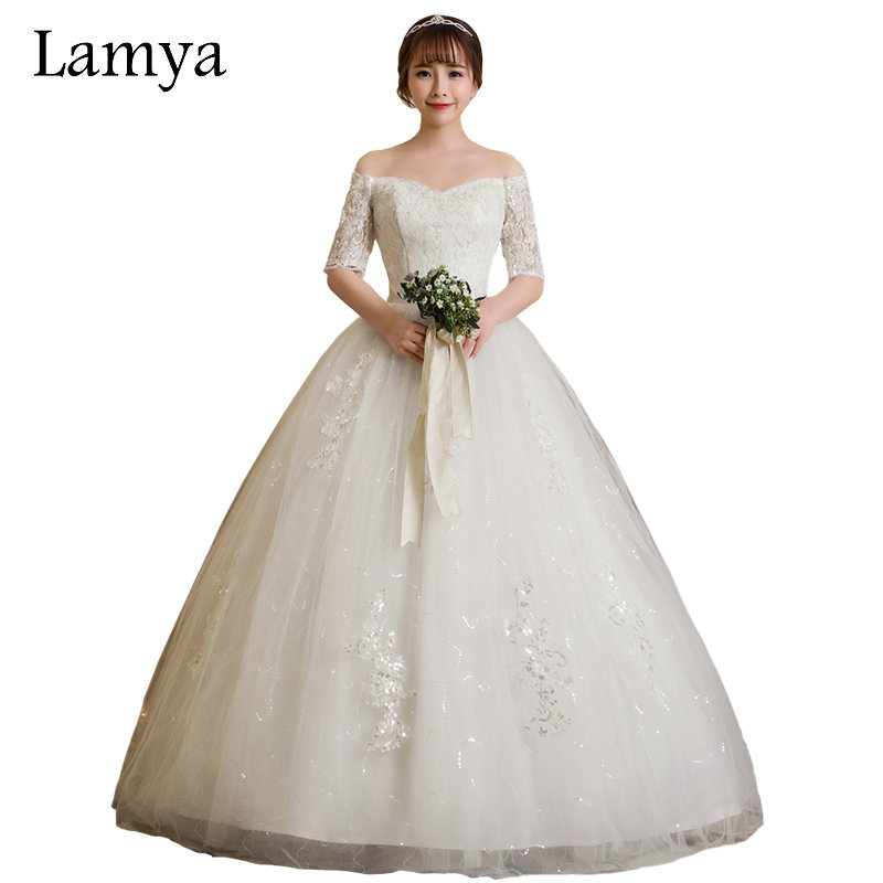 Cheap Plus Size Ball Gown Wedding Dresses: LAMYA Vintage Ball Gown Wedding Dress With Short Lace