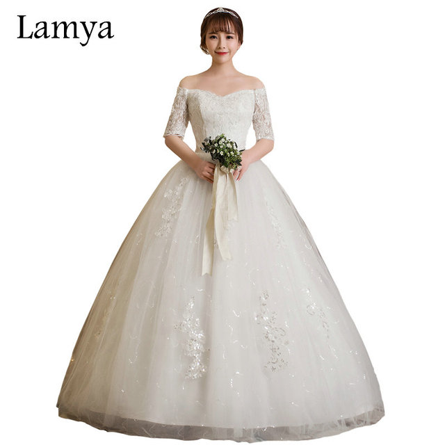 f5daf6c3213 LAMYA Vintage Ball Gown Wedding Dress With Short Lace Sleeve 2018 Plus Size Bridal  Gown Cheap Bow vestido de noiva