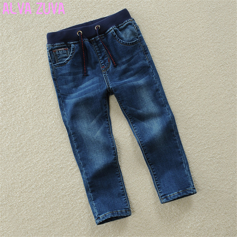 Children Jeans Pants 2017 Spring/Autumn Fashion Kids Casual Elastic Waist Trousers For Boys 2-13 Years Old High-Quality Clt040 high quality mens jeans ripped colorful printed demin pants slim fit straight casual classic hip hop trousers ripped streetwear