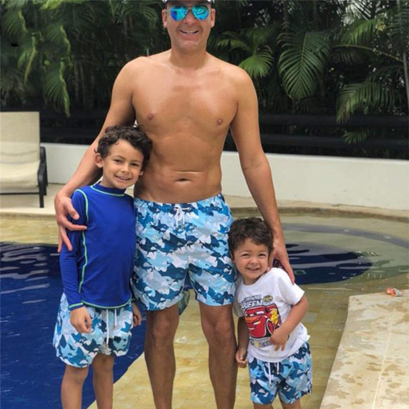 Dad and my swim trunks father swimming trunks Parent child swimsuit Beach swimming trunks Printed swimming trunks bathing E069 in Matching Family Outfits from Mother Kids