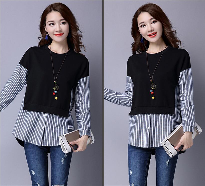 HTB1.Kz7QXXXXXaBXVXXq6xXFXXXf - 2017 Spring Blouses Shirt Female Long Sleeve Casual Striped