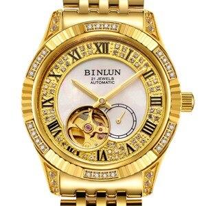 Image 5 - BINLUN 18K altın lüks otomatik İzle İskelet hareket izleme erkek safir kristal elmas otomatik iş erkek saatler
