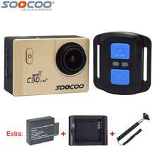 Original soocoo c30r 4 k 24fps wifi sport dv acción cámara gyro 2.4g de control remoto inalámbrico + batería extra + cargador + selfie stick