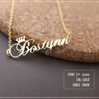 GORGEOUS TALE Stainless Steel Rose Gold Color Any Cursive Crown Handmade Name Necklace Customized Name Necklace
