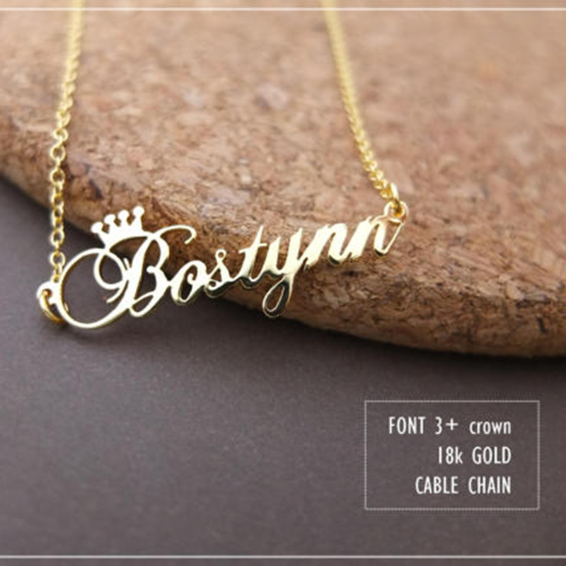 GORGEOUS TALE Stainless Steel Rose Gold Color Any Cursive Crown Handmade Name Necklace Customized Name Necklace Birthday Gift for lenovo tab 2 a10 30 a10 70 a10 70f a10 70l a10 30f x30f 10 1 tab2 a10 30 70 tablet case bracket flip leather cover