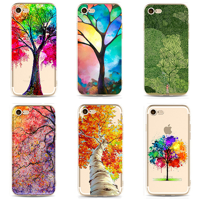 TPU Soft Case For Iphone 5s 5 6s 6 plus Cover Case For iphone 7 plus Colorful Printing Silicone Phone Cases For RU PC-059