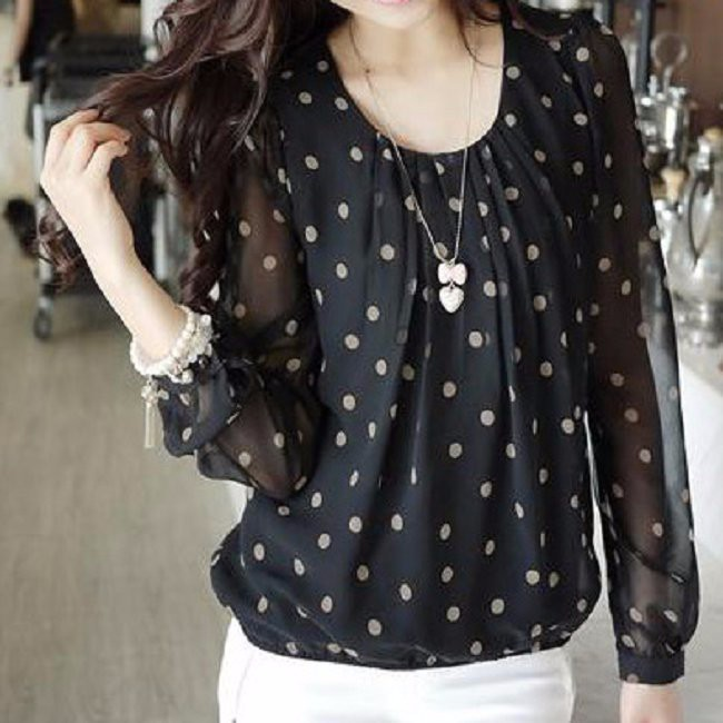 Plus Size XXXL 2018 Spring Women Fashion Long Sleeve O-Neck Polka Dot Print Loose Chiffon