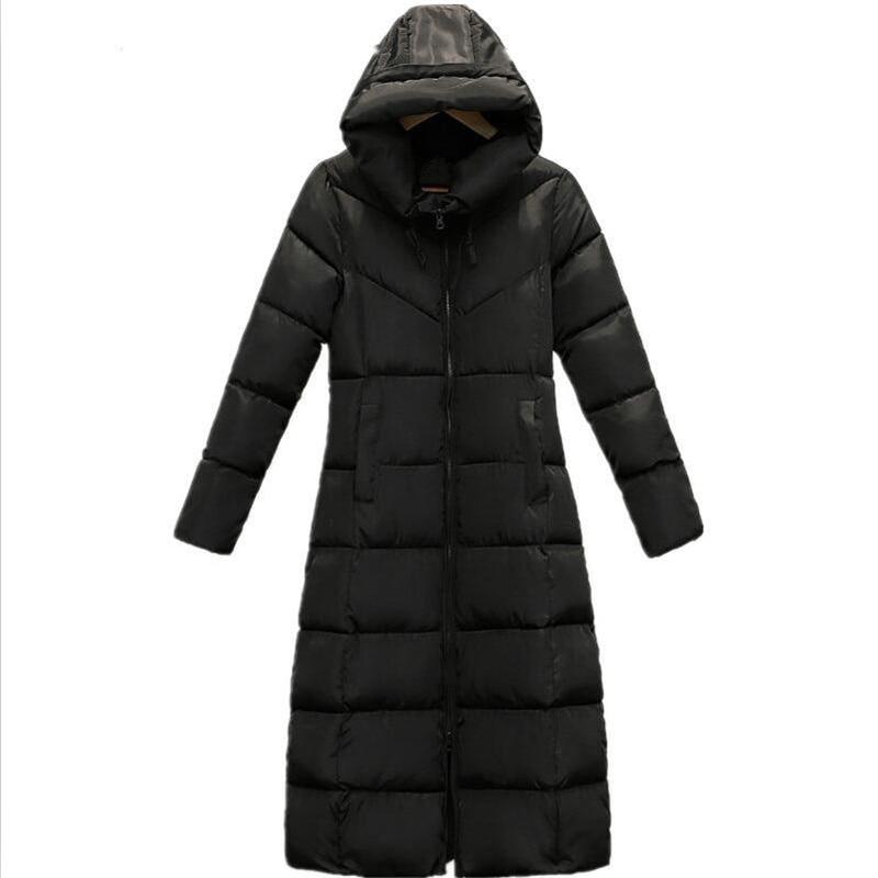 Femmes À 2018 Style Rue Taille Maxi Roulé Coton Coréenne Vêtements Vestes Plus Col Ouatée rouge Noir Capuchon Rayé Hiver Manteau fwdYqvf