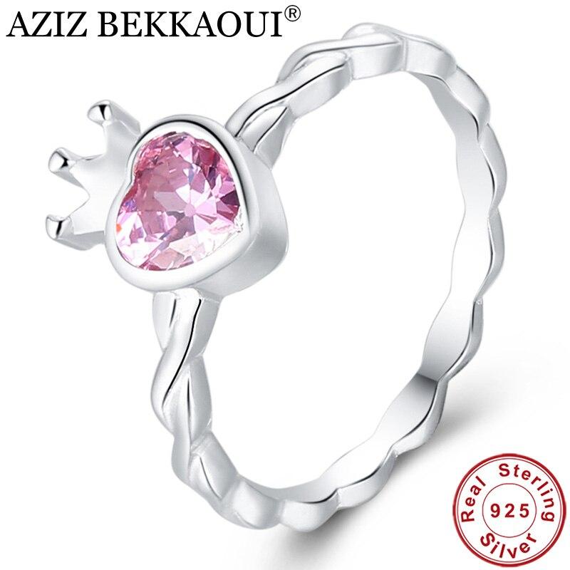 Heart-Rings Engagement Jewelry 925-Sterling-Silver Women for Sweet AZIZ BEKKAOUI Gift