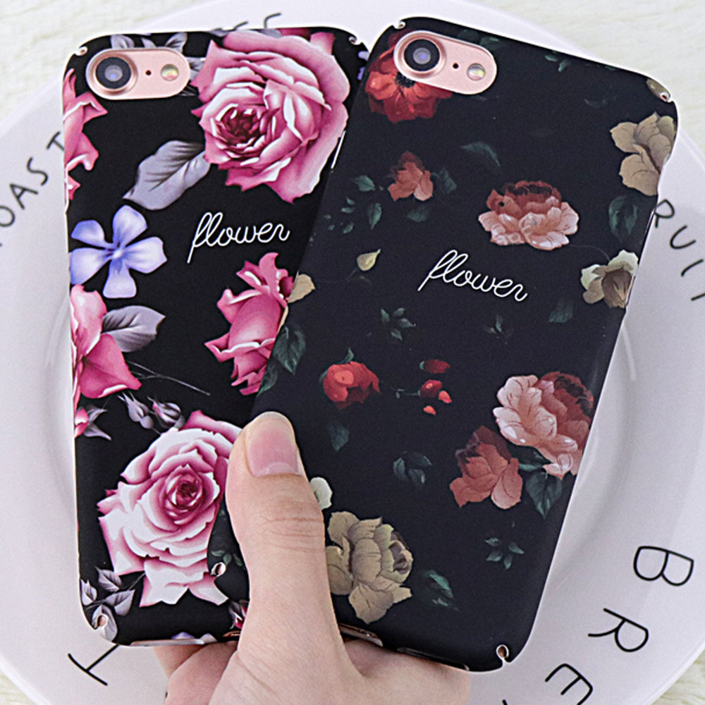 Lovely 3D Relief Flower Phone Case for iphone 7 Case DILLON GUAN Classic Retro Rosas Floral PC Cover for iphone 8 Case Capa