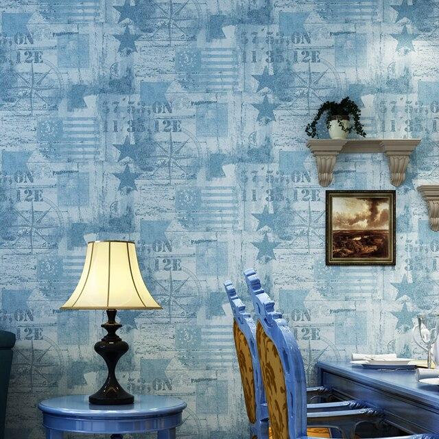 Beige Grijs Blauw Esdoornblad Mediterrane Vliesbehang Home Decor ...
