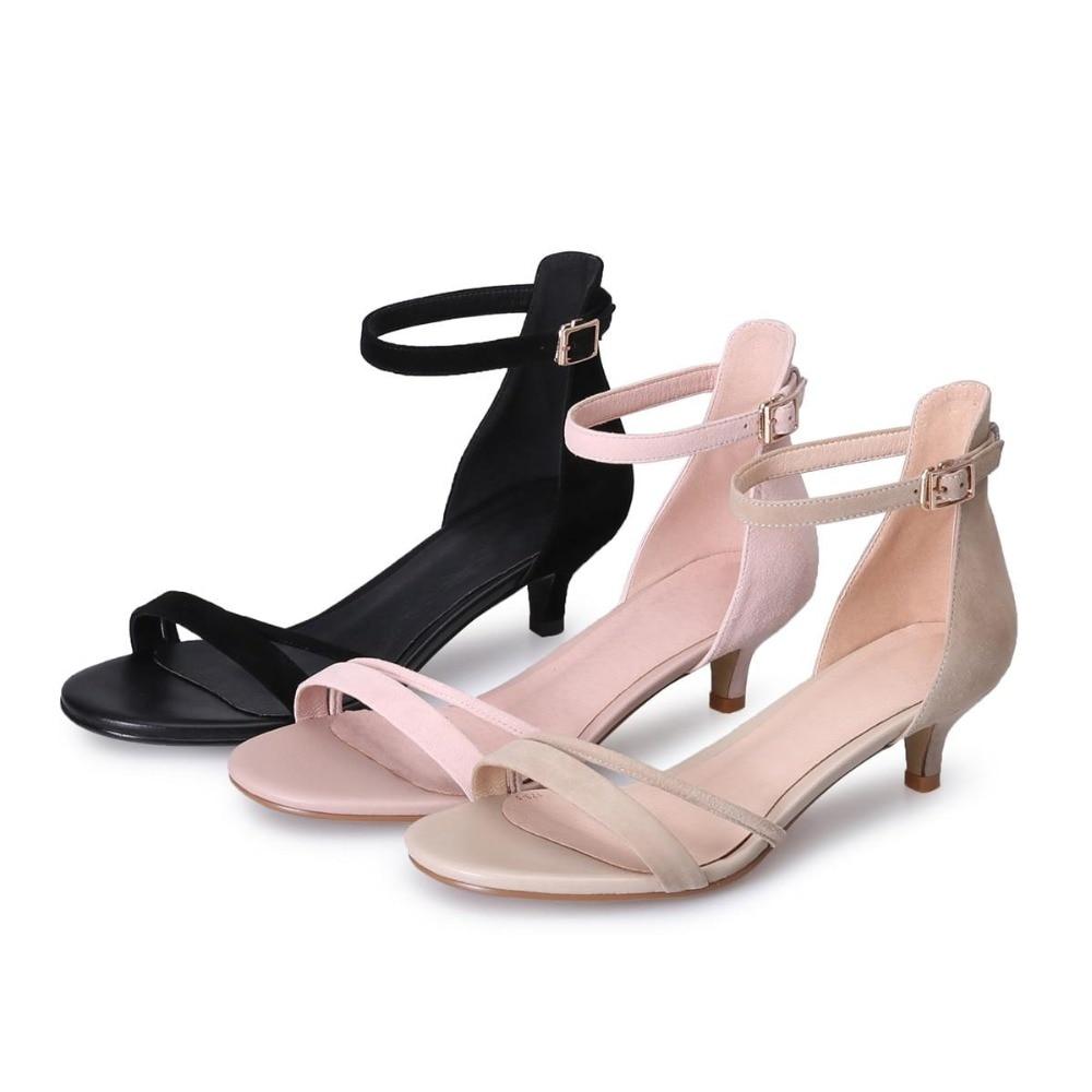 Estilo Negro Verano Mujeres Talones L07 Med Toe Peep Correas Sandalias Moda Hebilla rosado blanco Simple Ovejas Zapatos Nueva Oficina Lenkisen Suede Gladiador HqYFw