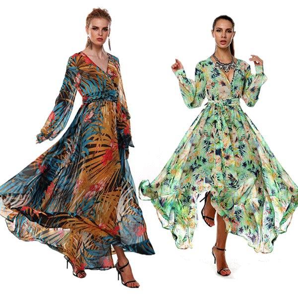 55c0a32e32d Femmes robe longue Livraison Gratuite Femmes D été Tropical Fleur Imprimé  En Mousseline de Soie À Manches Longues Plage Robe 3S2440 dans Robes de  Mode Femme ...