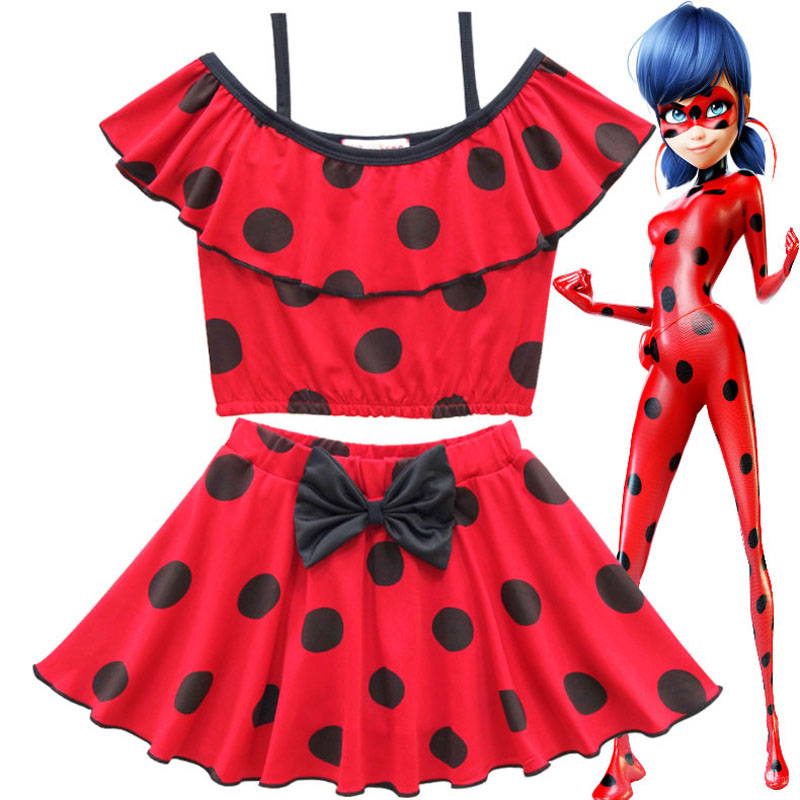 Hot Anime Miraculous Ladybug Cosplay Swimsuit Summer Swimming Pool Carnival Party Costume Beautiful Gift for Girls