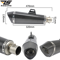 ZS Racing 470mm Universal 51mm Motorcycle Exhaust Modified Carbon Muffler With DB Killer For Ninja250 Z300