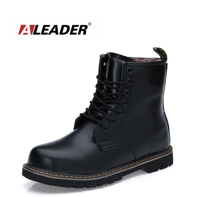 33d28d14438 Aleader 2016 Spring Winter Leather Men Boots Fashion Men Fur Shoes Warm  Outdoor Snow Shoes Martin Black Boots Botas Masculinas