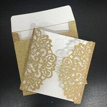 Свадебное приглашение ручной работы карты блестящая бумага Золотой Серебряный Лазерная резка декоративные свадебные приглашения карты(карточка с лазерной обработкой только