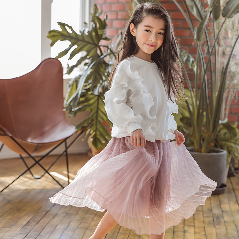 Kids Girls Clothes Set Autumn Flounced Long Sleeve Hoodies TuTu Top Skirts Children Clothing Teenage Girl Costume 2PCs CA259 spring autumn 3 12y girl suit set long sleeve top skirt girls clothing set cute owl costume for kids teenage clothes