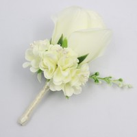 Ivory White Yellow Blue Wedding Flowers Groom Boutonniere Best Man Groomsman Pin Brooch Silk Rose Corsage