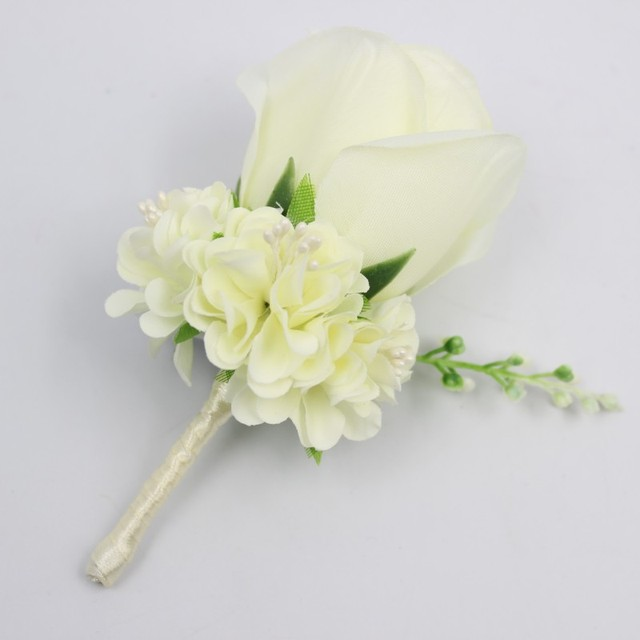 Ivory white yellow blue wedding flowers groom boutonniere best man ivory white yellow blue wedding flowers groom boutonniere best man groomsman pin brooch silk rose corsage mightylinksfo Image collections