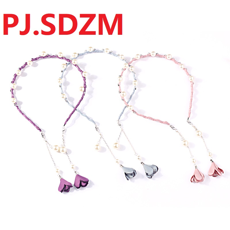 New Luxury Flower Pearl Pendant Hair accessories Adjustable Length Hairbands Crystal   Headwear   Girl Hairclips Head Hoop Gift