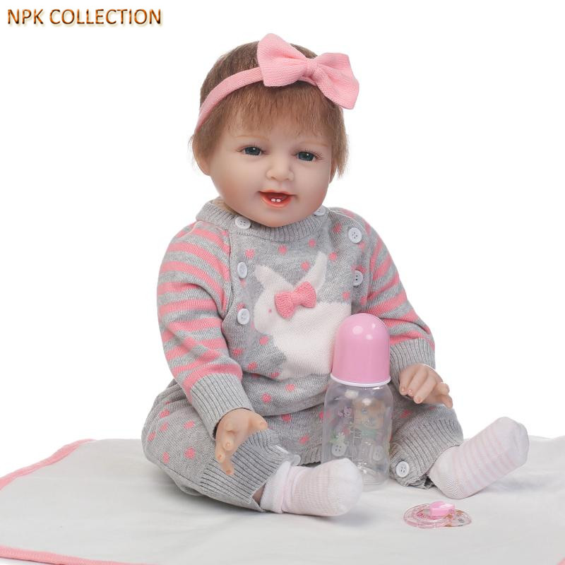 NPKCOLLECTION Real Baby Dolls Silicone Reborn Babies Bonecas with Clothes,50CM Realistic Baby Born Doll Handmade Baby Alive Doll