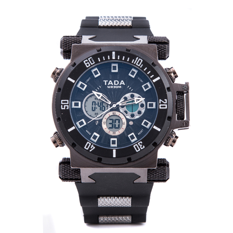 Tada Branded Watches Heren Cool Heavy Big Head Luxe Sport Waterproof Militair horloge Dual Time Quartz LED Siliconen Horloges