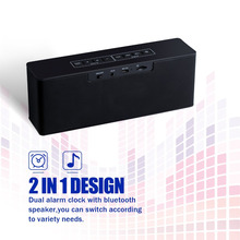 Bluetooth Speaker with Alarm Clock and FM Radio/ LED Nightstand Clock, Large LED Dimmable Display-A Stereo Sound Speaker