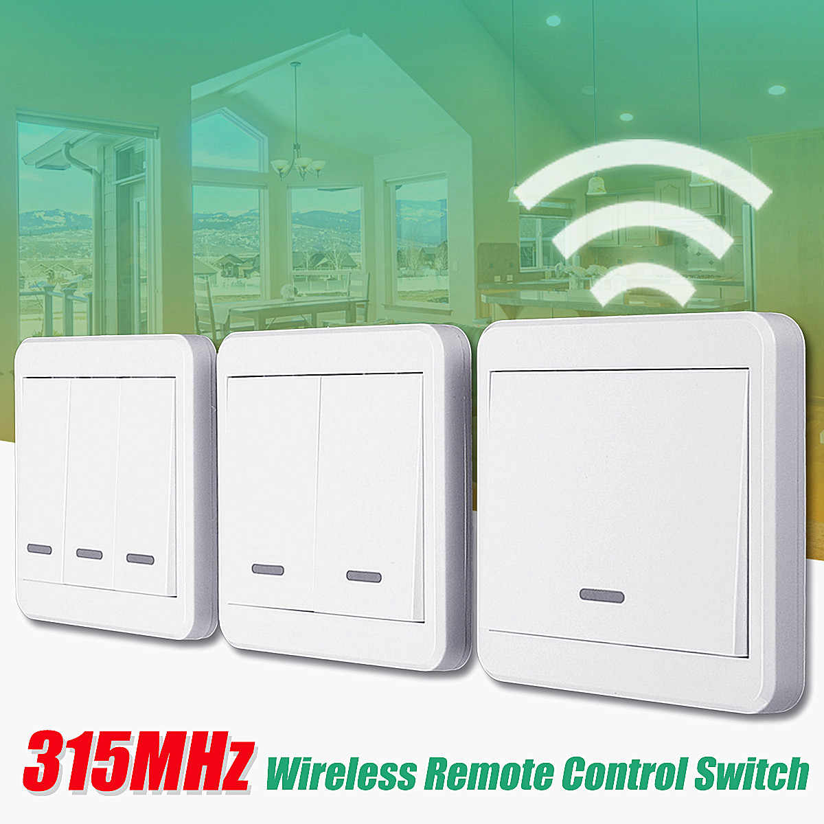 1/2/3-Way 315MHz RF Wireless Remote Control Switch 10M Wall Panel Transmitter New Arrival