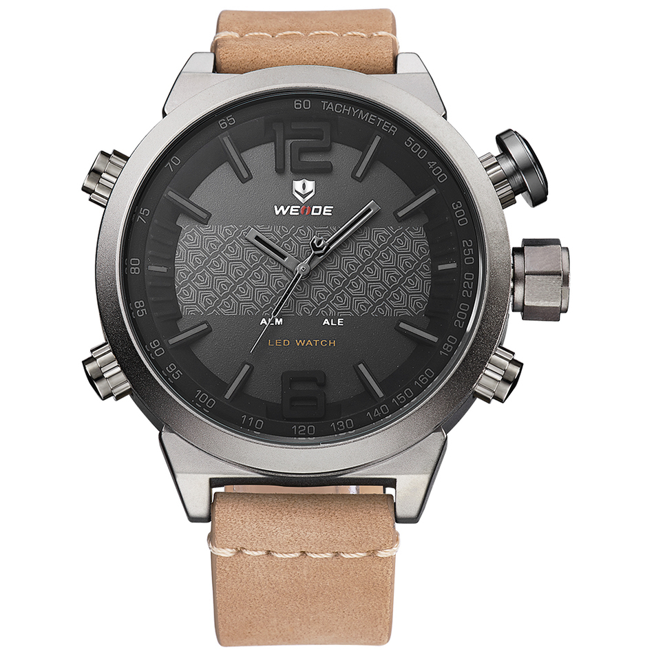 WEIDE Leather Brown Watch Sports Military Multifunctional Quartz LED Digital Movement Waterproofed Watches Men Wristwatches Saat