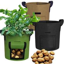 Grow Bags 4/7/10G Garden Vegetables Planter Bags with Handles and Access Flap for Planting Potato Carrot Onion Taro Radish Pea(China)