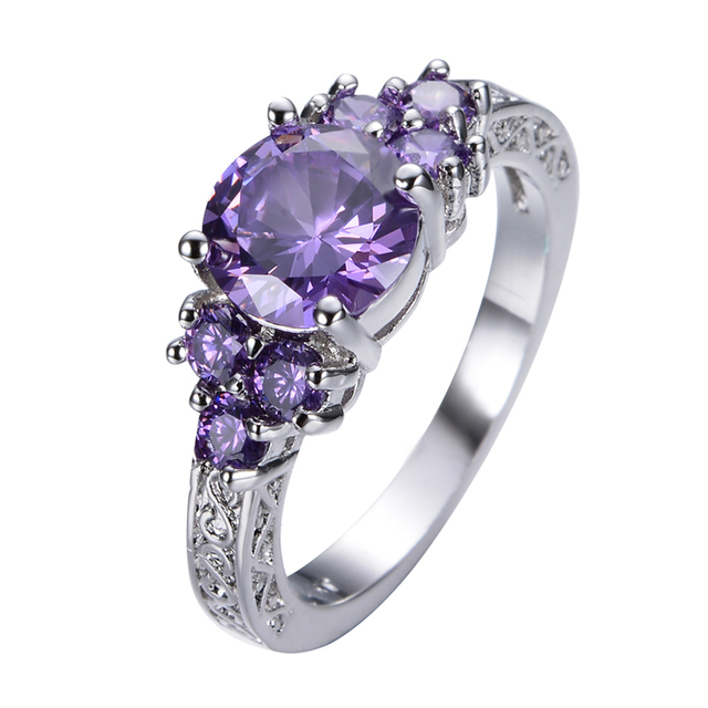 Purple Stone Jewelry White Gold Filled Claw Ring Anel Aneis Women Men Wedding Band Engagement