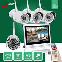 ANRAN CCTV P2P 4CH WIFI NVR 12 LCD Monitor 48 IR Outdoor Bullet 1080P IP Wireless