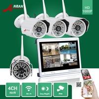 ANRAN CCTV P2P 4CH WIFI NVR 12 LCD Monitor 48 IR Outdoor Bullet 1080P IP Wireless