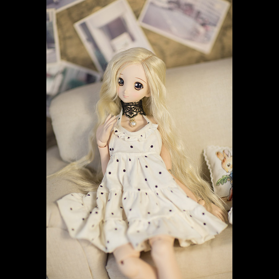 Bybrana msd dz bjd sd dd dddy doll Clothes Milky white casual strap dress Customizable size