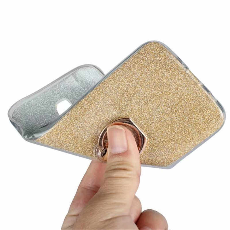 "Cover Case Voor Samsung Galaxy J7 2017 j730 SM j730F EU 5.5 ""Flash Glitter Poeder Ring Stent TPU Siliconen Transparant Telefoon Shell"