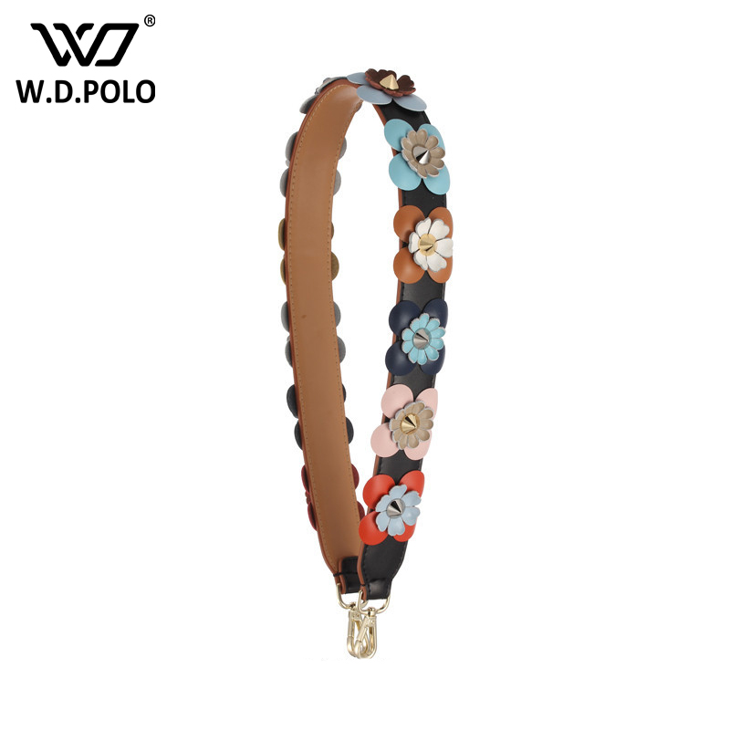WDPOLO new fashion flower design women bags strap easy matching gold buckle bags parts chic handle for bags C395