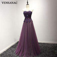 VENSANAC 2017 New A Line Lace Appliques Strapless Long Evening Dresses Sleeveless Elegant Draped Sash Party
