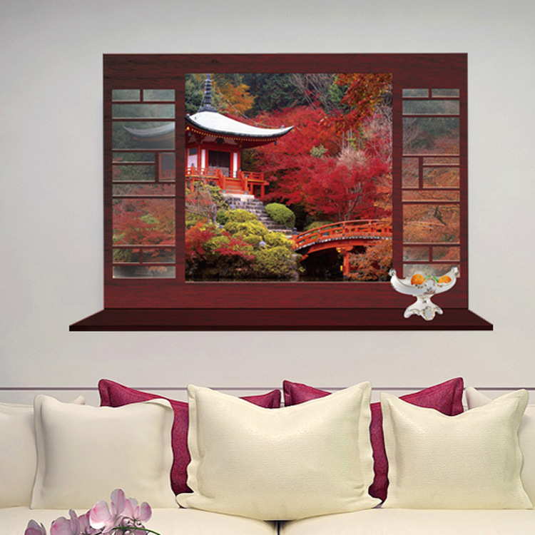 Hot style popular Chinese style3D fake the sitting room the bedroom window background wall stickers wall post of foreign trade