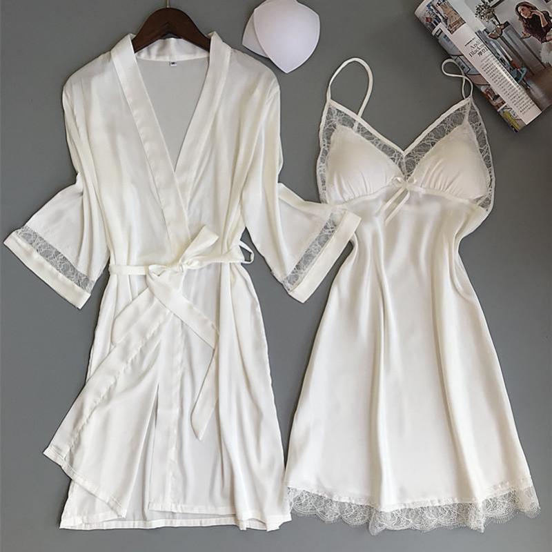 Sexy Women Rayon Kimono Bathrobe WHITE Bride Bridesmaid Wedding Robe Set Lace Trim Sleepwear Casual Home Clothes Nightwear - sleepwear