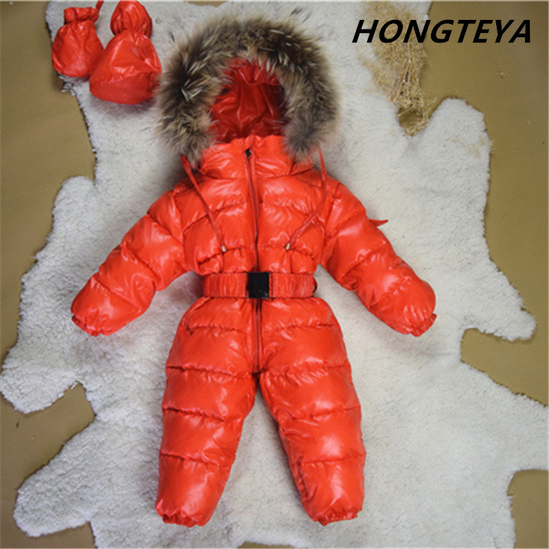 New Large Raccoon Fur Winter Baby Rompers Clothes Newborn Boys Girls Warm Duck Down Romper Snowsuit Kids Tracksuit Baby Clothing