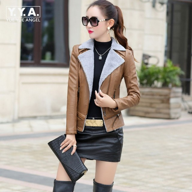 26819e61e94 Winter Womens Slim Fit PU Leather Jacket Short Zipper Motorcycle Faux Leather  Jacket Fur Lining Turn Down Collar Outerwear Coat